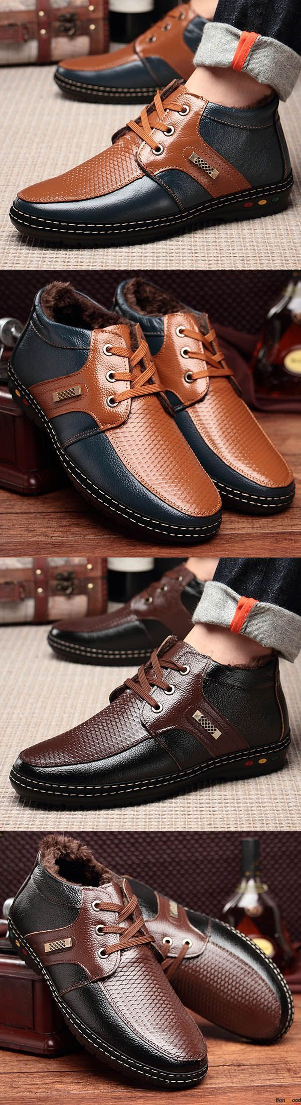US$42.99+ Free Shipping. Men Casual Genuine Leather Comfy Soft Fur Lining High Top Oxfords Shoes. Mens comfy style. Warm and chic. Shop at banggood now. #Modernman'sboots