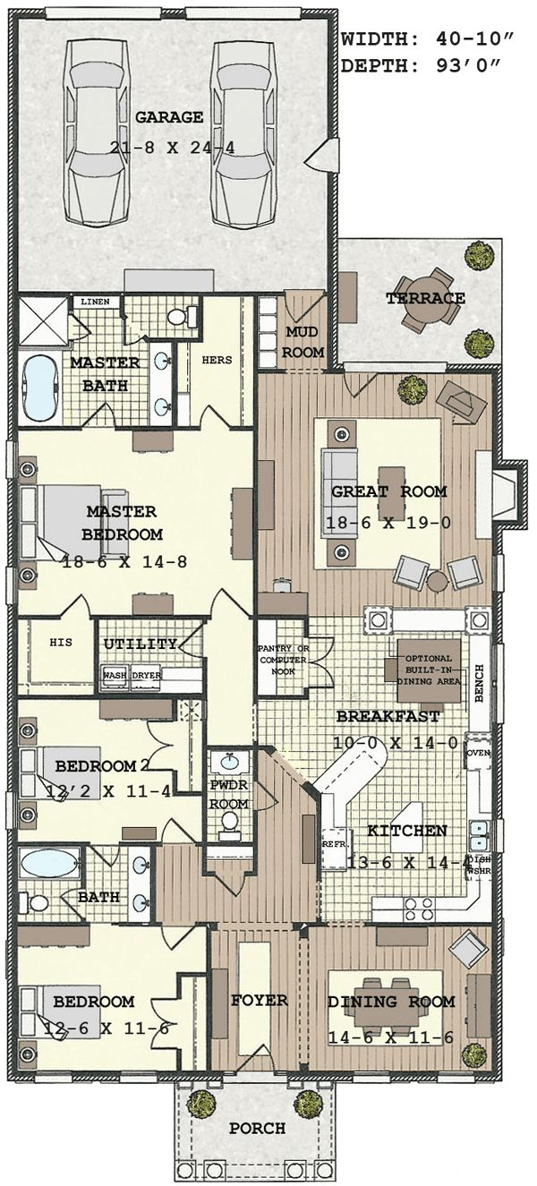 Narrow plot house plans on pinterest floor modern for Modern long house plans