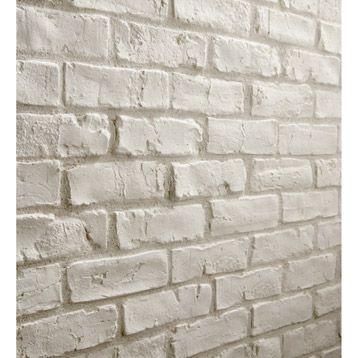 Plaquette de parement Easy Bloc Manhattan en pl�tre, blanc