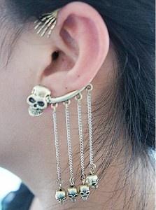 2010HOT Bronze Skull Claw Chain Tassel Stud Cartilage Ear Cuff Warp Clip Earring | eBay