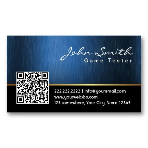 20 best video game business cards images on pinterest card professional black and blue qr code business card make your own business card with this great design all you need is to add your info to this template reheart Choice Image