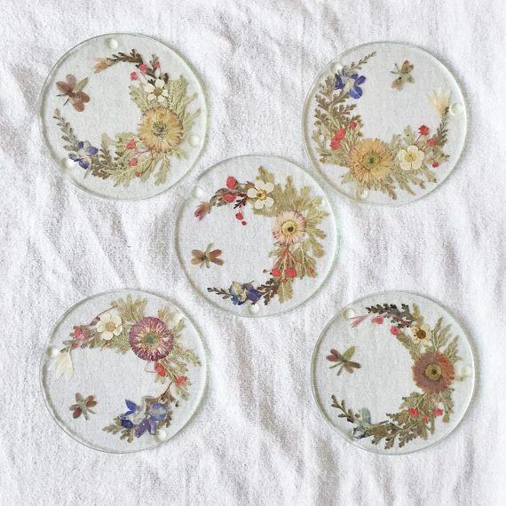 Vintage Pressed Flower Glass Coasters // Set of 5