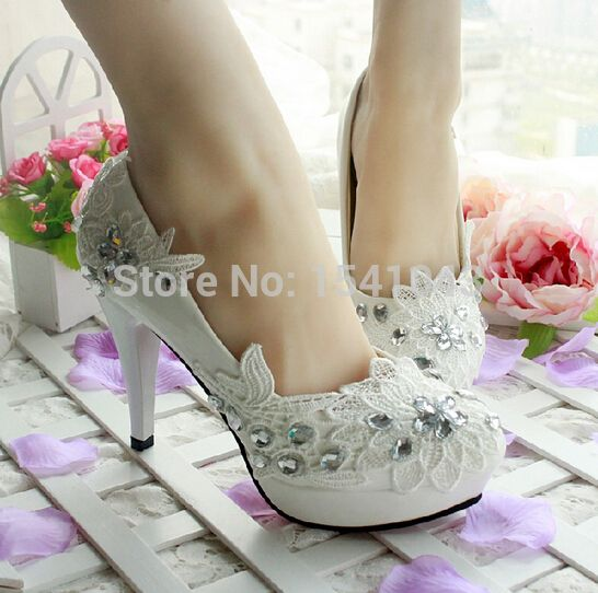 shoe plugs on sale at reasonable prices, buy New Style Women Shoes White  Wedding High Heels Rhinestone Flowers Ladies Heels Hanmade Plus Size Women  Shoes ...