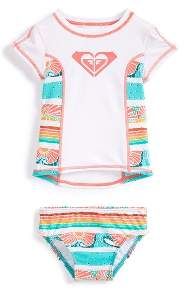 Roxy 'Sea You Soon' Two-Piece Rashguard Swimsuit (Baby Girls) available at #Nordstrom