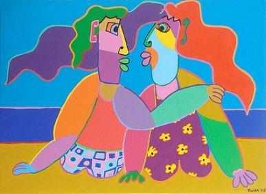 Twan de Vos; 'Vakantieliefde', 80 x 110 cm; acryl op doek 2005