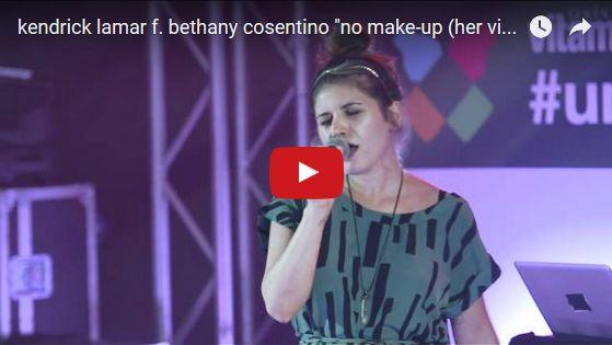 Watch: kendrick lamar f. bethany cosentino - no make-up (her vice) live w/ vitaminwater See lyrics here: http://kendricklamarlyrics.blogspot.com/2014/02/no-make-up-her-vice-lyrics-kendrick.html #lyricsdome