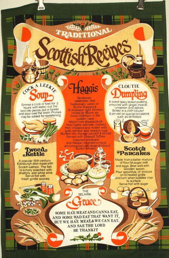 Traditional Scottish Recipes Tea Towel  Vintage by FunkyKoala