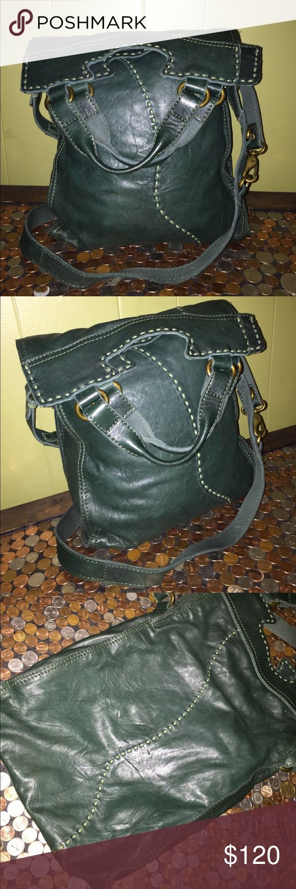 """Lucky Brand Abbey Road Dark Green Italian Lamb Bag Lucky Brand Abbey Road Dark Green Italian Lambskin Leather Crossbody Bag. Very Nice Pre Owned Condition, Clean Inside & Out. Lots Of Wear Left. Satchel Carry Handles With Adjustable Crossbody Strap. 11.5""""L x 2""""D x 18""""H. Fold & Flap Over. Questions Welcome Thanks For Looking. Lucky Brand Bags Crossbody Bags"""