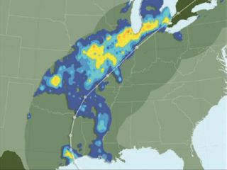 U of Iowa Researchers Find East Coast Hurricanes can Flood Midwest. Flood ratio map of the midwest from Hurrican Ike