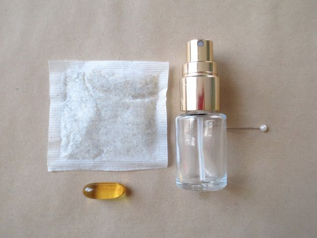 DIY facial mist - just a tea bag and a vitamin E capsule (you can add essential oils like lavender too)