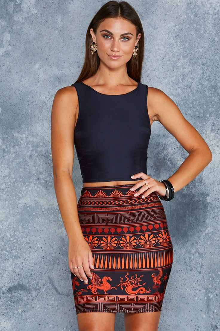 Olympus Orange Pencil Skirt - 7 DAY UNLIMITED ($65AUD) by BlackMilk Clothing
