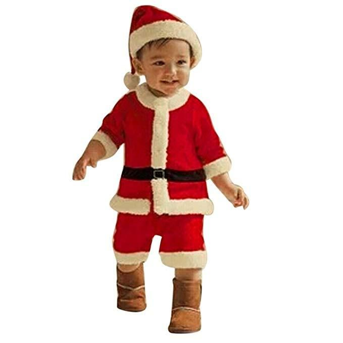 4Pcs Baby Santa Claus Costume Kids Long Sleeves Tops//Pants//Hat Xmas Party Dress