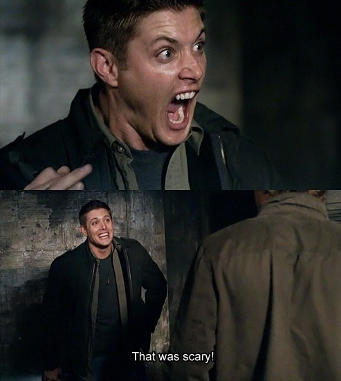 The cat. That was scary. I can watch that part over and over and never get tired of Deans high pitched scream