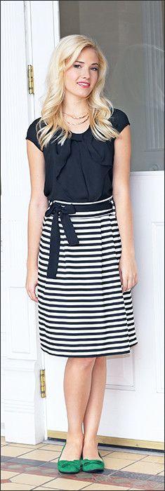 Horizontal Striped Skirt & black top  ModestPop.com