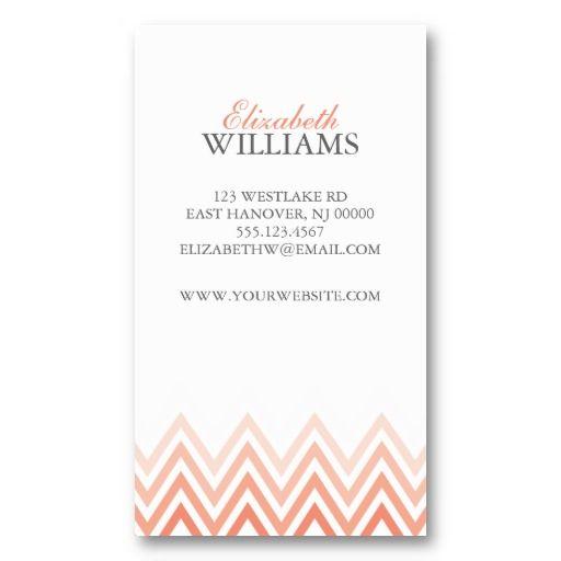 Elegant Coral Ombre Chevron Stripes Business Card