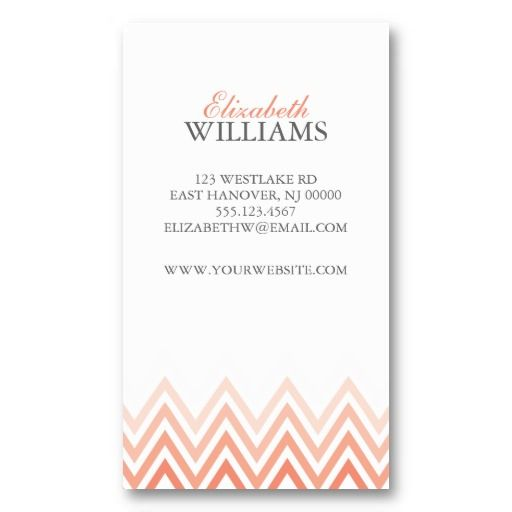 Elegant Coral Ombre Chevron Stripes Business Card