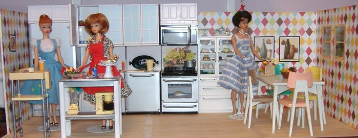 Retro Barbie kitchen featuring the Reading Table and Chairs and My First Kenmore Appliances - The Kenmore appliances are from the 2000's and don't really fit with this retro kitchen.