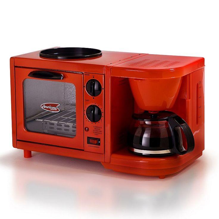 Americana by Elite 3-in-1 Mini Breakfast Shoppe, Red