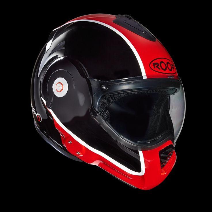 Le casque Roof Desmo Flash rouge et noir de profil