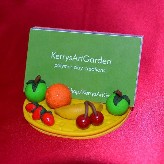 Fresh Fruit Polymer Clay Business Card Holder by KerrysArtGarden