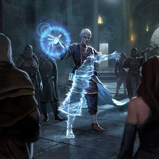 m Drow Elf Wizard Robes Casting Invisibility magic urban