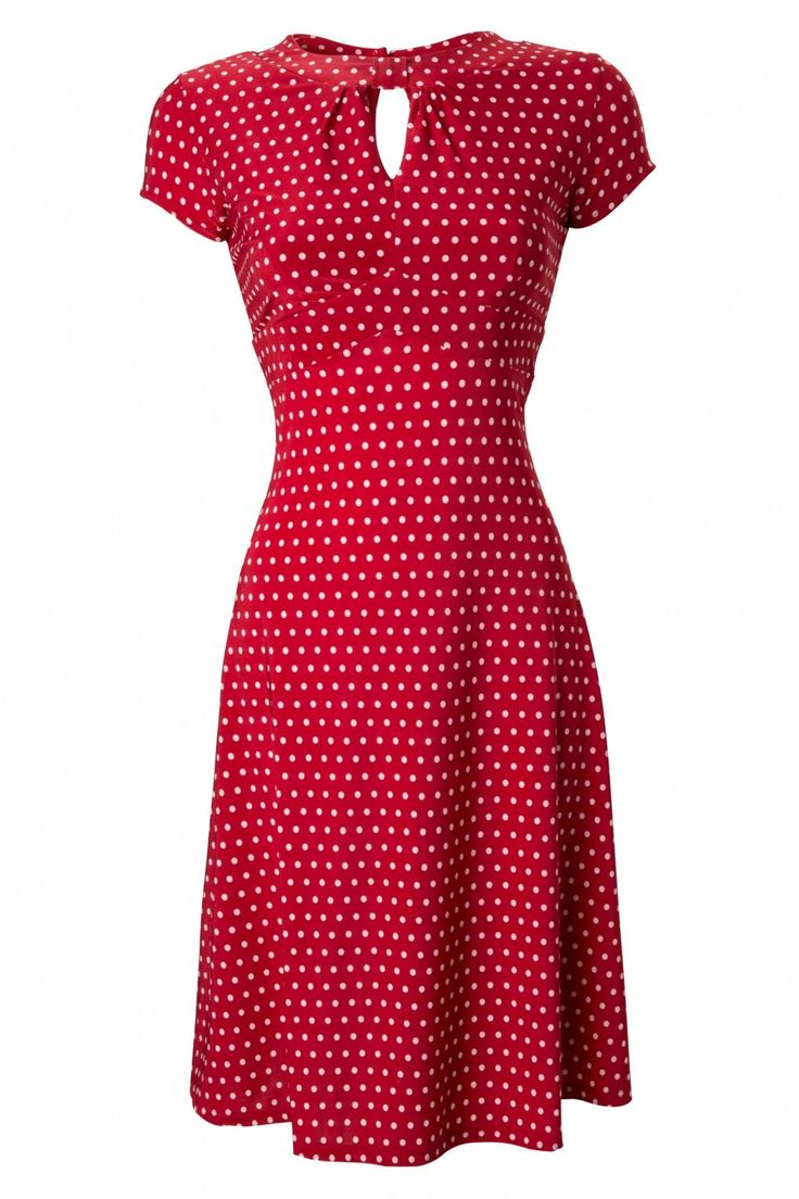 Lindy Bop - 40s Juliet Classy Red Polka Dot Vintage Flared Tea dress
