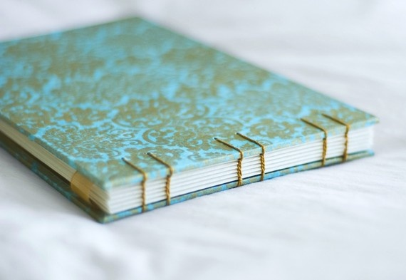 Robin's egg blue and gold damask vintage style photo album, journal, or wedding guest book  $38.50