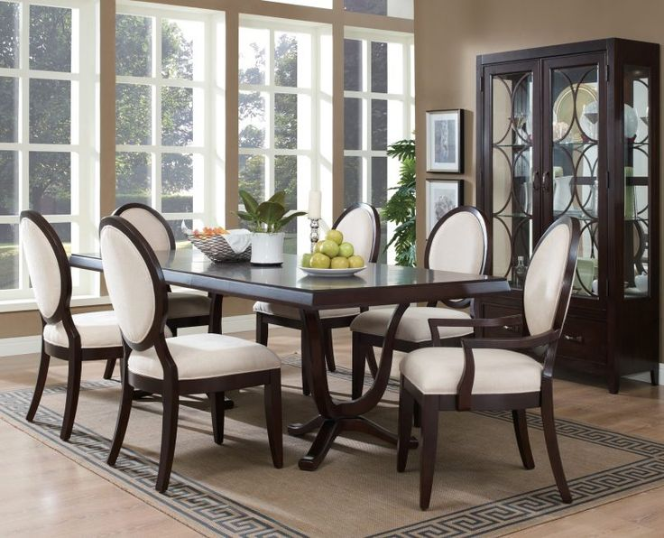 Dining Room Dining Set Fruit Plate Flower Pot Green Plant Cream Carpet Potrait Curio Cabinet Glass Window Candle Holder Some Tips to Arrange Dining Room Furniture