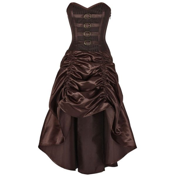 Steampunk Corset Dress ($110) ❤ liked on Polyvore featuring dresses, steam punk corset, brown corset, brown dress, corsette dress and steam punk dress