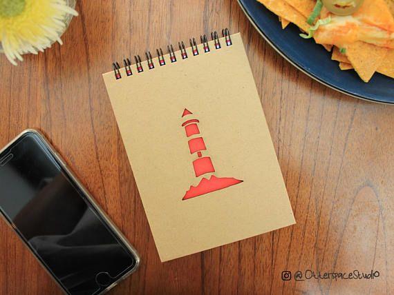 Lighthouse Notebook  Voyage Spiral Notepad  Travel Hardcover
