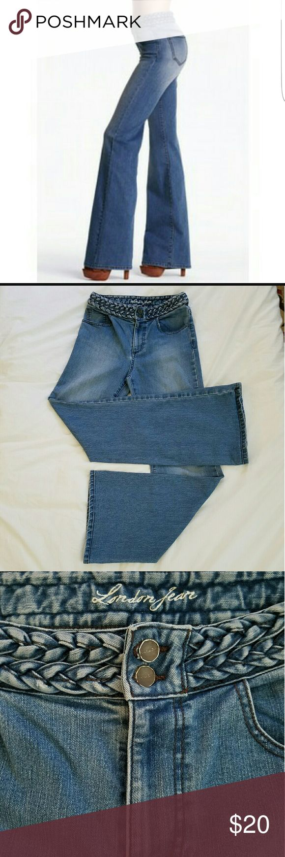 VS London Jeans These light wash jeans feature a high braided waist, a wider leg bottom, and have a 32 inch inseam. London Jean by Victoria's Secret made of 76% cotton, 22% polyester, and 2% elastane. They are in great preworn condition, and look amazing and slimming on! Jeans Flare & Wide Leg