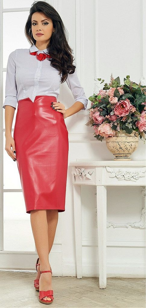 Dressed Formal At Home In White Shirt And Red Skirt