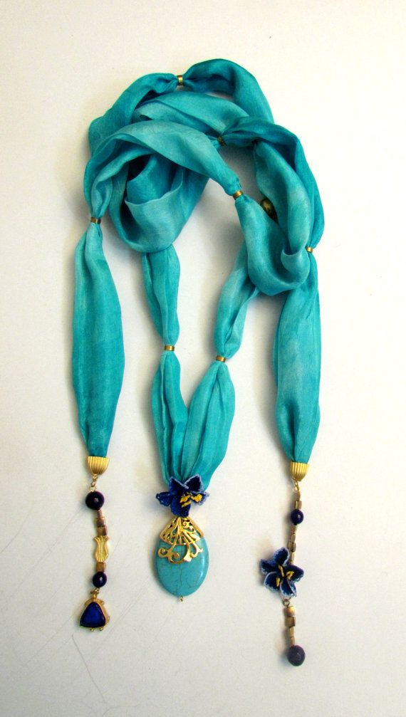 turqoise silk handmade necklace by MUsShop on Etsy, $80.00