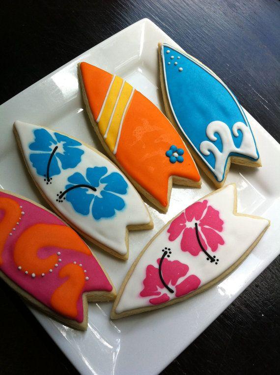 Surf Board luau beach decorated Cookies 1 by thetalentedcookie, $42.00