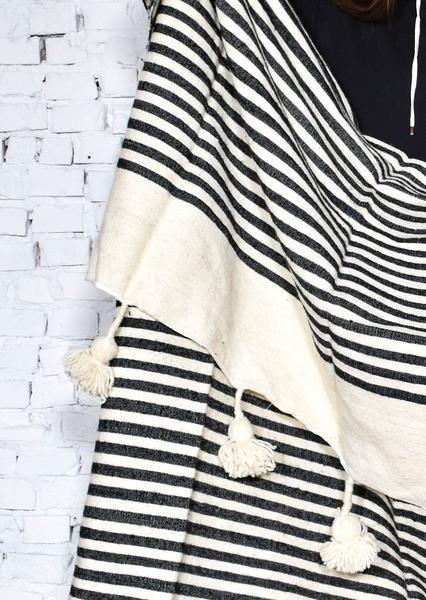 Wool Moroccan Pom Pom Blanket no. 1 - Rug & Weave