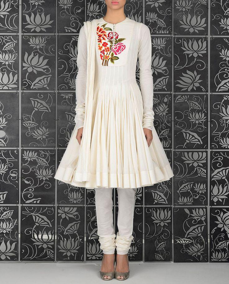 Ivory Suit with Embroidered Yoke - Kurta Sets - Shop Women
