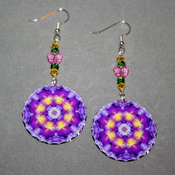 Pansy Earrings Dangle Boho Chic Mandala New Age by melbecreations