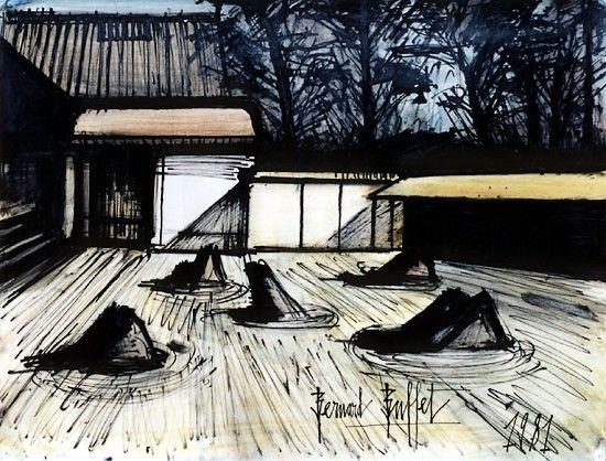 Bernard Buffet - Temple Ryoan-ji - 1981, mixed media on paper - 50 x 65 cm