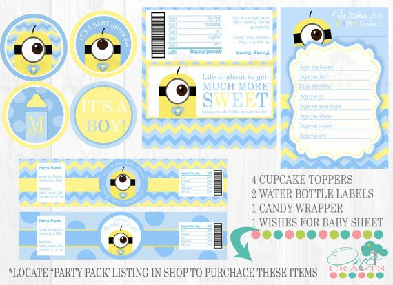 Printable Party Kit  Cupcake Toppers Water Bottle by OneCrafts, $18.99