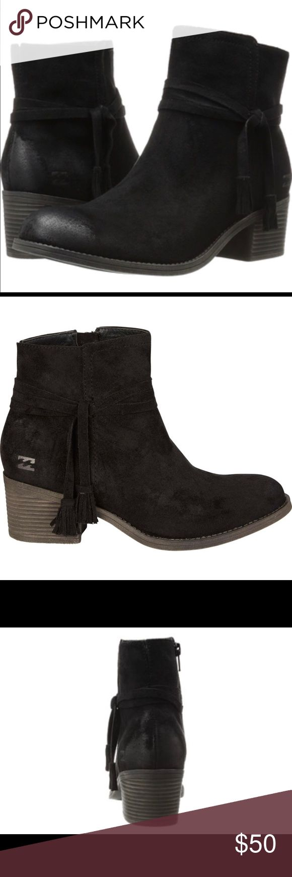 Billabong Wrap Around Booties BNWT Faux suede, wrap tie detailing and fringe trim. Heel height 1 3/4 inch. Billabong Shoes Ankle Boots & Booties