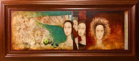 MELITA GWERKOVÁ - MEDITATO Technika: kombinovaná na lepence. Rozměr bez rámu: 50 x 150 cm. Rozměr s rámem: 80 x 180 cm #art #gallery #gwerkova #design #painting #style #interiordesign #stylish #home