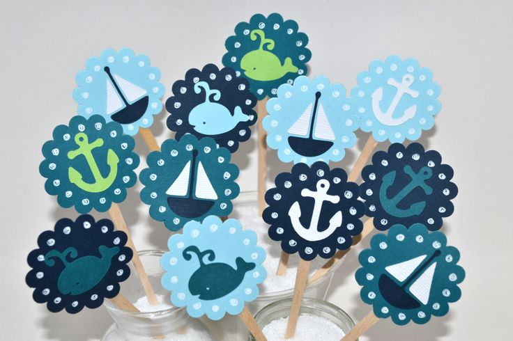 12 Whale Cupcake Toppers/ Nautical Baby Shower/ Whale Party Decor / Sailboat Cupcake Toppers / Anchor Cupcake Toppers/ Nautical Party Favors by sunshowerstuff on Etsy https://www.etsy.com/listing/257376131/12-whale-cupcake-toppers-nautical-baby