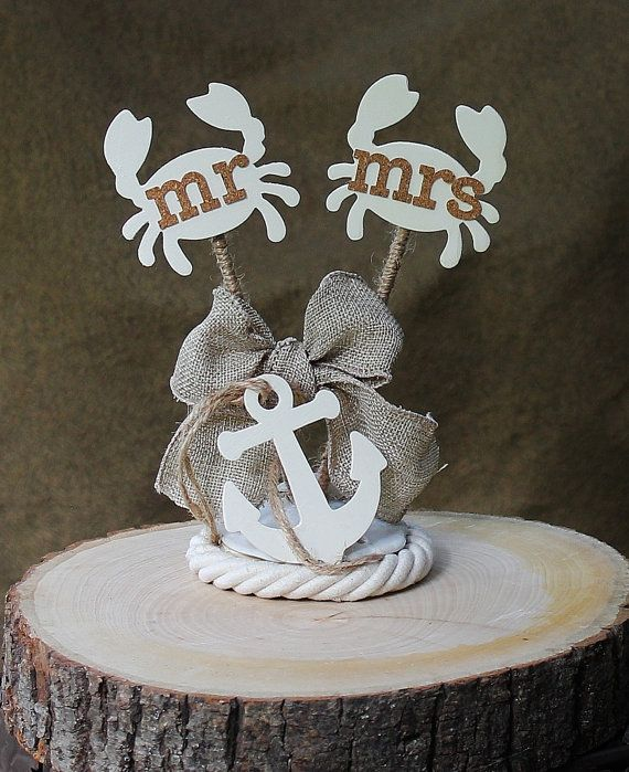 Nautical Wedding Cake Topper  Rustic Chic  by ForeverDenimandLace