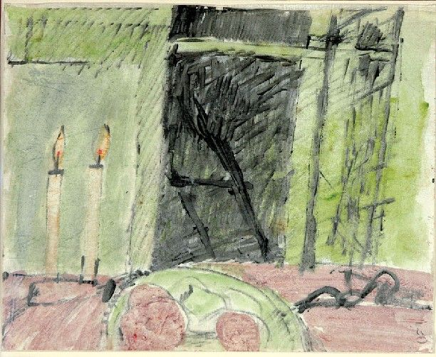 Piotr POTWOROWSKI (1898 - 1962)  Martwa natura ze świeczkami akwarela, tusz, papier, 21 x 26,8 cm; p. d. stempel: 120