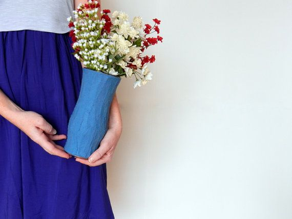 Blue Concrete Vase / Modern Country Cottage by CarriageOakCottage, $23.00
