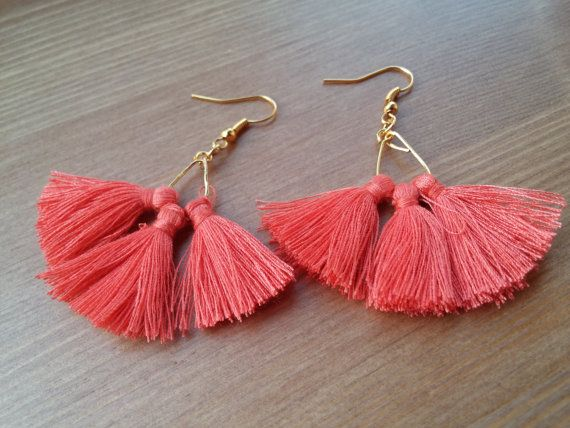 SUMMER handmade earrings with coral pompon by toocharmy on Etsy