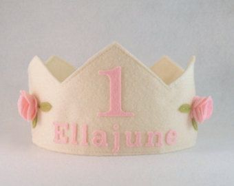 Felt Crown with Roses Birthday Crown  Personalized Crown