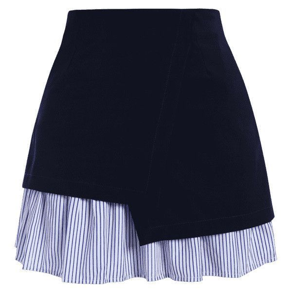 Stripe Panel Plus Size Skirt ($16) ❤ liked on Polyvore featuring skirts, mini skirts, bottoms, saias, faldas, panel skirt, dark blue skirt, short blue skirt, striped skirt and plus size skirts