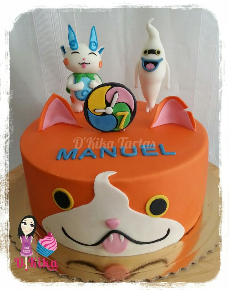 Yokai watch cake tarta fondant yokai sevilla yokai for Decoration yo kai watch