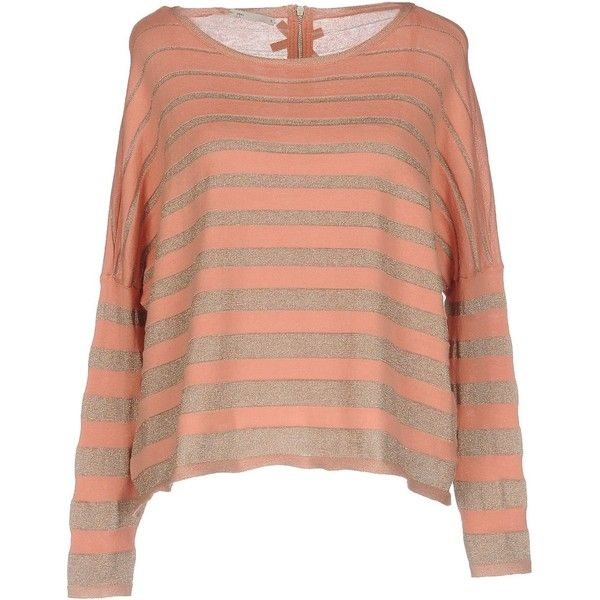 Only Jumper ($30) ❤ liked on Polyvore featuring tops, sweaters, salmon pink, zip sweater, metallic long sleeve top, pink long sleeve top, metallic sweater and zip top